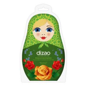 Dizao Маска для лица тканевая пузырьковая очищающая, роза и коллаген (угольная), 25 г 1