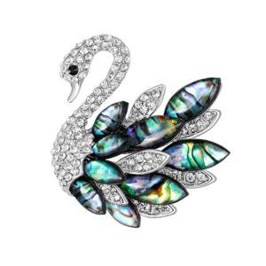 Fashion Jewelry Брошь Лебедь с перламутровыми вставками и стразами 3