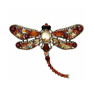 Fashion Jewelery Брошь со стразами Стрекоза золотисто-коричневая 1