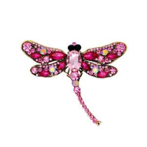 Fashion Jewelry Брошь со стразами Стрекоза розово-фиолетовая 4