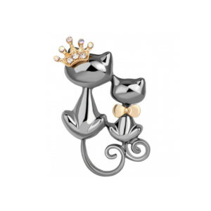 Fashion Jewelry Брошь Королевские кошки со стразами, серебристые 2