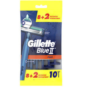 Gillette Blue II Plus Бритвы одноразовые безопасные для мужчин, хромовое покрытие + увлажняющая полоска с алоэ (по 8+2 шт в пакете) 4