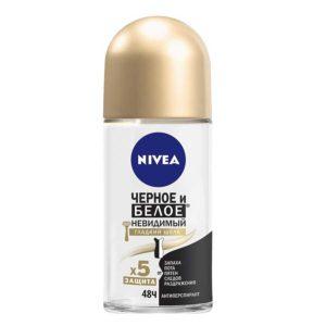 Nivea антиперспирант 48 ч черное и белое невидимый гладкий шёлк после бритья, ролл стекло 10