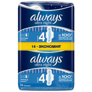 Always Ultra Night Прокладки гигиенические женские ароматизированные ультратонкие Ночные, размер 4, 14 шт 4