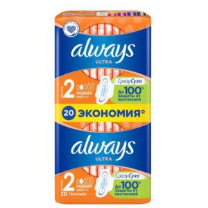 Always Ultra Прокладки гигиенические женские ароматизированные ультратонкие Normal (20 шт), размер 2 1