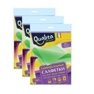 Qualita Салфетки универсальные для всех видов уборки, 32х38 см, 3 шт в уп 3