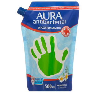 Aura Мыло жидкое увлажняющее для всей семьи с ромашкой с антибактериальным эффектом (наполнитель), 500 мл 1