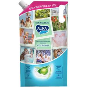 Aura Мыло семейное Алоэ и олива с антибактериальным эффектом, 1000 мл 7