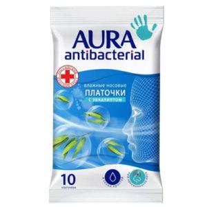 Aura Платочки носовые влажные с экстрактом эвкалипта и эфирным маслом розмарина, 10 шт 3