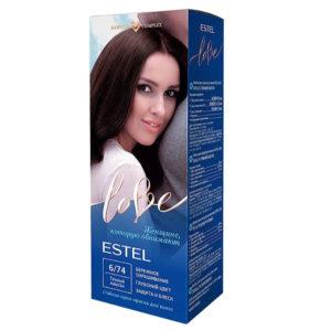 Estel Love Крем-краска стойкая для волос (50/2х25/15+перч), тон 6/74 темный каштан 8