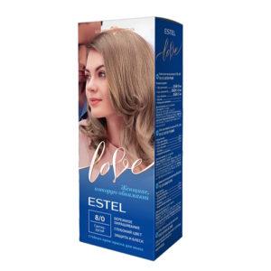 Estel Love Крем-краска стойкая для волос (50/2х25/15+перч), тон 8/0 светло-русый 17