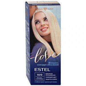 Estel Love Крем-краска стойкая для волос (50/2х25/15+перч), тон 10/0 блондин платиновый 83