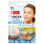 Народные рецепты Маска для лица творожная тонизирующая с овсяным молочком и мёдом, 25 мл 2