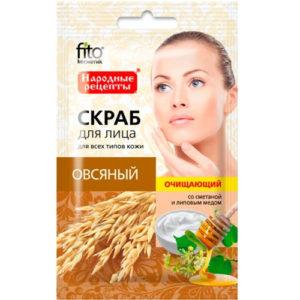 Народные рецепты Скраб для лица овсяный очищающий со сметаной и липовым мёдом, 15 мл 4