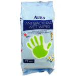 Aura Салфетки влажные очищающие антибактериальные с ромашкой, 72 шт 1