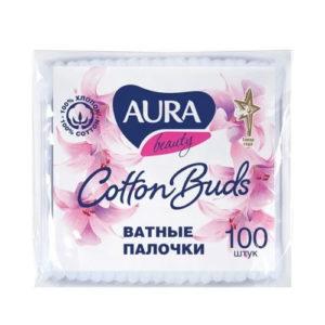 Aura Палочки ватные 100% хлопок, 100 шт в пакете 42