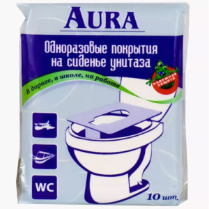 Aura Туалетные покрытия на унитаз индивидуальные одноразовые, 10 шт 17