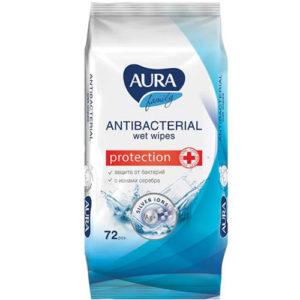 Aura Салфетки влажные для всей семьи с антибактериальным эффектом и ионами серебра, 72 шт 4