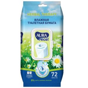 Aura Nice! Туалетная бумага влажная с ромашкой, 0% спирта, силиконов, красителей (72 листов, 190 х 120 мм) 1