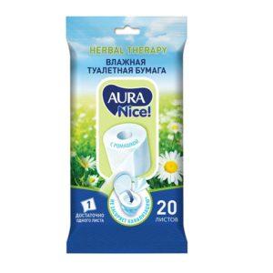 Aura nice! Туалетная бумага влажная с Ромашкой, 0% спирта, силиконов, красителей (20 листов, 190 х 120 мм) 13