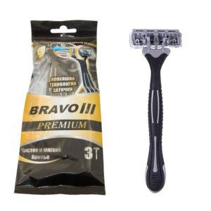 Slav&Co Bravo III Premium Станки бритвенные одноразовые, 3 лезвия + увлажняющая полоска + плавающая головка + обрезиненная ручка (3 шт в пакете, чёрный) 12