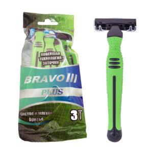 Slav&Co Bravo III Plus Станки бритвенные одноразовые, 3 лезвия + увлажняющая полоска + обрезиненная ручка (3 шт в пакете, зелёный) 9