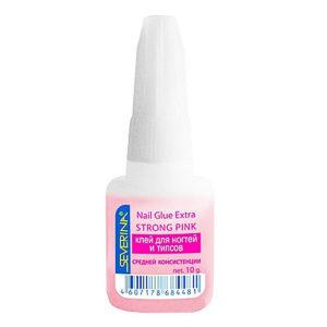 Severina Клей для ногтей и типсов Средней Консистенции с кисточкой Nail Glue Extra Strong Pink, 10 г 7