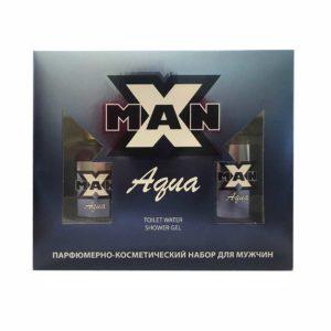 Apple Набор парфюмерно-косметический для мужчин X-man Aqua (edt 80.0%, 100 мл + парфюмированный гель для душа 150 мл) фужерный, водяной 5