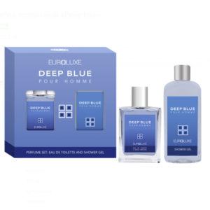 Euroluxe Набор парфюмерно-косметический для мужчин Deep Blue туалетная вода 100 мл; гель для душа парфюмированный, 150 мл 10