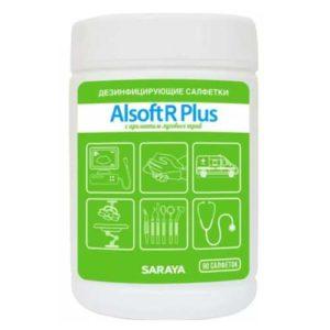 Saraya Alsoft R Plus Салфетки дезинфицирующие с ароматом луговых трав, 90 шт в тубе 12
