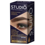 Studio Professional Крем-краска стойкая без аммиака для бровей с эффектом татуажа тон тёмно-коричневый, 30/20 мл 2