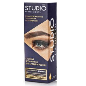 Studio Professional Крем-краска стойкая без аммиака для бровей с эффектом татуажа (туба 30 мл, оксидант 20 мл + мисочка), тон Графит 3