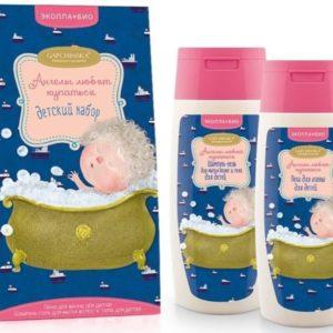 Эколла-Био Набор детский подарочный Ангелы любят купаться (шампунь-гель для мытья волос и тела, пена для ванны), 100/100 мл 1