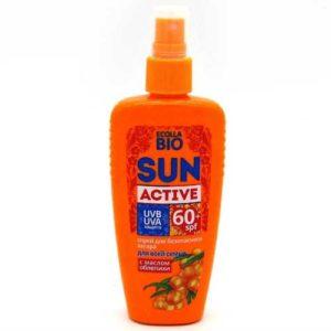 Биокон Sun Active Спрей для безопасного загара SPF 60+ UVA, UVB с маслом облепихи, для всей семьи, 120 мл 47