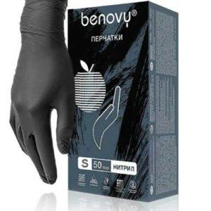 Benovy MultiColor Перчатки медицинские смотровые нитриловые 50 пар, черные размер S 15