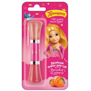Принцесса Блеск двойной детский для губ Персиковый зефир с маслом ши, УФ-фильтр, 2 х 5 мл 12