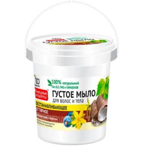 Народные рецепты Густое мыло для тела и волос дегтярное, 155 мл 79