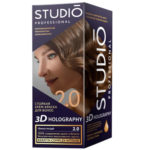Studio Professional Крем-краска стойкая для волос 3D Holography тон 2.0 тёмно-русый, 40/60/15 мл 1
