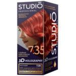 Studio Professional Крем-краска стойкая для волос 3D Holography тон 7.35 ярко-рыжий, 40/60/15 мл 2