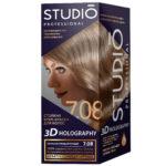 Studio Professional Крем-краска стойкая для волос 3D Holography тон 7.08 перламутровый русый, 40/60/15 мл 1