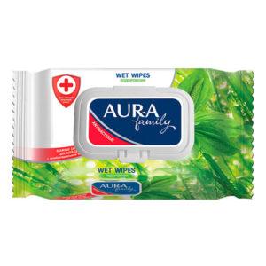 Aura Салфетки влажные для всей семьи с антибактериальным эффектом зелёный чай, 120 шт 2