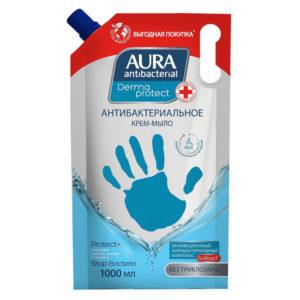 Aura Antibacnerial Крем-мыло жидкое антибактериальное Derma Protect без триклозана (наполнитель), 1000 мл 1