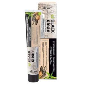 Витэкс Black Clean Зубная паста Отбеливание + Защита дёсен кора дуба, с микрочастицами чёрного активированного угля, 85 г 53