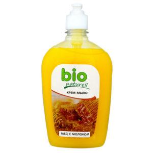 Bio Naturell Крем-мыло жидкое нежное мёд и молоко, помпа 500 мл 100
