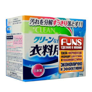 Funs Clean Порошок стиральный с ферментом яичного белка для полного устранения пятен, 900 г 5