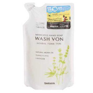 Saraya Wash Von Мыло жидкое пенящееся для рук с эфирными маслами лаванды и иланг-иланга, 280 мл 1