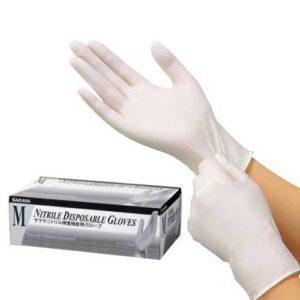 Saraya Нитриловые перчатки неопудренные смотровые белые (200 шт) размер M, 1 уп 6