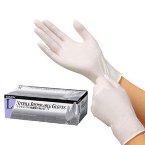 Saraya Нитриловые перчатки неопудренные смотровые белые (200 шт) размер L, 1 уп 2