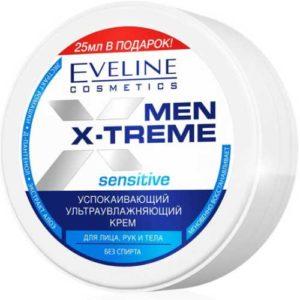 Eveline Men X-treme Крем для лица, рук и тела Sensitive успокаивающий ультраувлажняющий (без спирта), 100 мл 85