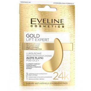 Eveline Gold Lift Expert Патчи эксклюзивные золотые под глаза против морщин 3 в 1 24К, 2 шт 7